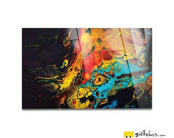Plexiglass square Prints on acrylic glass-abstract Design-Spectrum Color-Yellow BUS