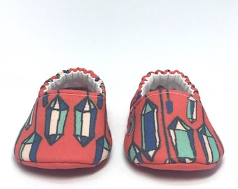 0-3mo RTS Baby Moccs: Gemstones / Crimson Red / Crib Shoes / Baby Shoes / Baby Moccasins / Vegan Moccs / Soft Soled Shoes / Montessori Shoes