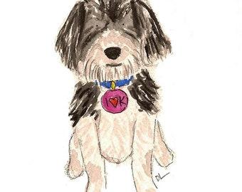 Custom Pet Portrait- watercolor 5X7 or 8 X 10