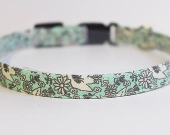 Mint Cat Collar Floral | Breakaway Cat Collar | Handmade | Adjustable | Small Dog Collar | Pet Collar | Safety Cat Collar |Floral Dog Collar