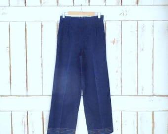 70s vintage high waisted wide leg stretch dark blue denim jeans/rainbow embroidered jeans