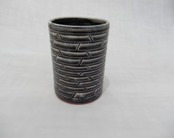 Pottery Tumbler - Black Ceramic Cup - 16 oz. Cup - Handmade Pottery