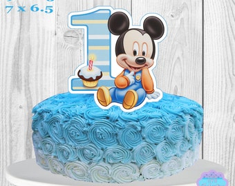 Baby Mickey Mouse Cake Topper PRINTABLE, You Print