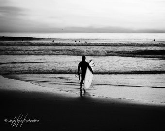 Surfing Photography - Surfer Standing on the Beach 8x10 B&W - Black and White photo