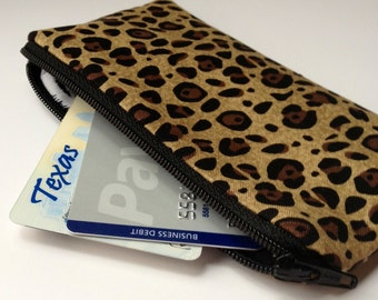 Zippered Coin Purse Wallet - Fabric Business Card Holder - Leopard and Zebra
