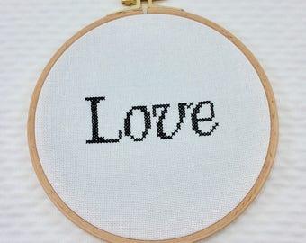 "Cross stitch Embroidery ""love"""