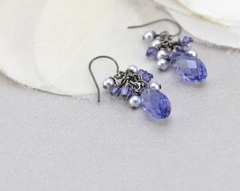 Tanzanite purple crystal teardrop earrings with lavender pearls- aNella Designs