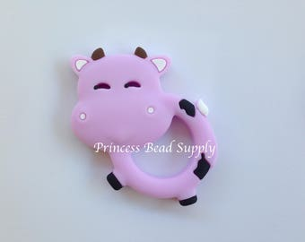 Sweet Lilac Cow Silicone Teether,  Lilac Cow Teether,  Cow Animal Teether,  Sensory Teether, Cow Silicone Pendant, Cow Teether