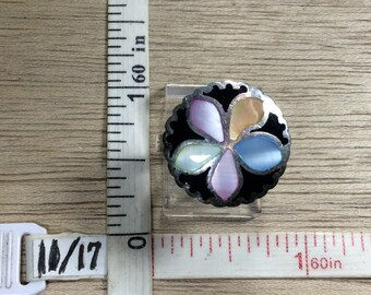 Vintage 925 Sterling Silver 5.2g Ring Size 6 Green Pink Purple Yellow Blue Inlaid Shell Flower Used