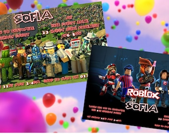 Roblox - Personalised Children's Party Invitations - Pack of 10 - 2 Designs