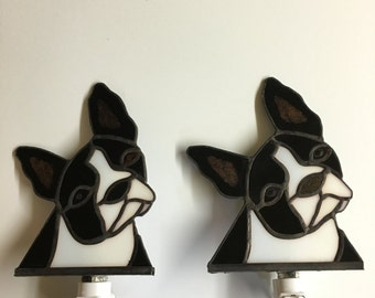 Boston Terrier Stained Glass Night Light
