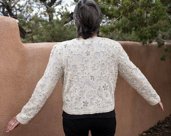Beaded Jacket - White Jacket Fully Lined Woman's Long Sleeve Vintage - Beaded Woman's Lined Jacket White Vintage