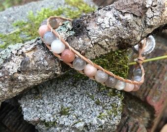 Multi-colored moonstone leather wrap bracelet