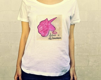 Save the Unicorns Poster No. 4 // Ladies Womens Tee Shirt, scoop neck, T-shirt, Illustration Horse, Pegasus, Save the Unicorns, Lisa Barbero