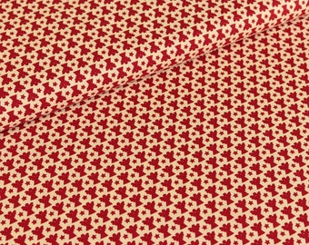 Cotton fabric joyful Christmas Angels red / cream (9,50 EUR / meter)