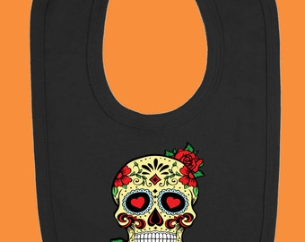 Sugar Skull and Roses Baby Bib