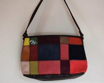 salvation armani vintage leather purse - vintage wilsons leather - multi-color patchwork leather - excellent condition - brown shoulder bag