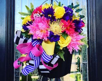 Summer flower bucket, summer wreath