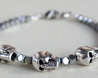 Men's Skull Bracelet, Father Gift, Skull Bracelet, Skull Jewelry, Skull Jewelry For Him, Gifts For Him, Fathers Day Gift