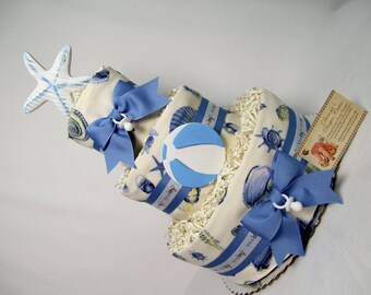 Beach Baby Diaper Cake Shower Gift Centerpiece Summer Fun Boys