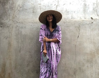 Tie Dyed, kaftan long dress ,Maxi dress,Vacation ,Evening dress,Oversized,Loose fit,Elegant