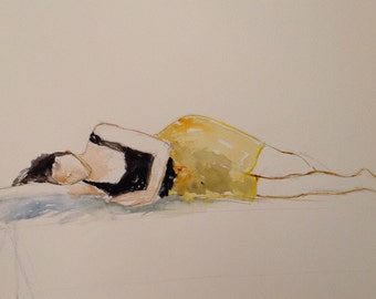 giclee reproduction of original watercolour of woman in yellow skirt