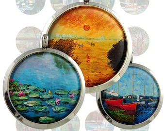 Claude Monet  Digital Collage Sheet  1inch/1.25inch/1.5inch  size Circle Images Printable Download for pendants bottlecaps magnets