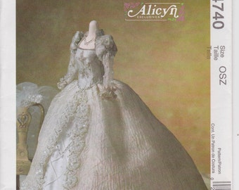 "Wedding Gown Pattern For Fashion Doll 11 1/2"" Alicyn Bridal Dress Veil Uncut McCalls 4740"