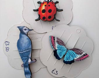 3 x Wooden Brooches - Butterfly, Bird, Ladybird (SET B)