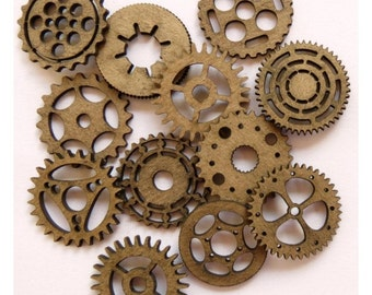 "Steampunk Gears 1"" (Set of 12) Laser Cut Chipboard FREE SHIPPING! in US"