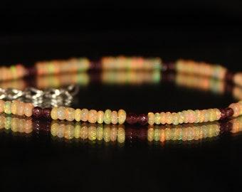 Garnet Bracelet with Ethiopian Opal, Opal Bracelet, January Birthstone, Gemstone Bracelet, Beaded Bracelet, Dainty Bracelet 0017