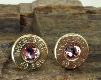 Winchester 40 S&W Bullet Earrings - Light Rose