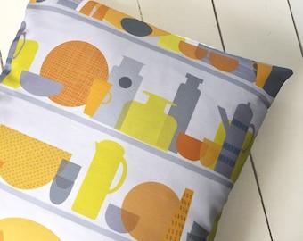 Kitchen Cupboard Print Cushion Cover Grey Yellow Home Pillow Sham