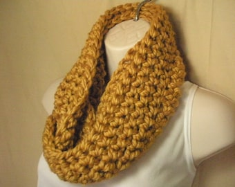 Gold Cowl Infinity Circle Scarf Neckwarmer
