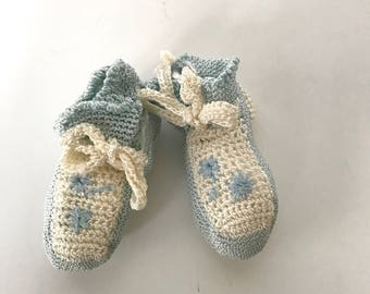 Vintage Crocheted Baby Booties, Crib Shoes