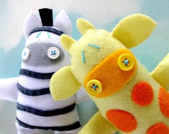 Giraffe & Zebra Felt Softies Sewing PDF e Pattern