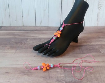 Barefoot sandals,foot jewelry, hemp  cord, macrame, summer jewelry