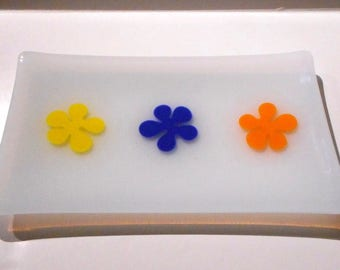 Springtime Inspired Glass Tray,White Fused Glass with Yellow, Blue and Orange Flowers, Handmade Home Décor, Hostess Gift, Spring Cookie Tray