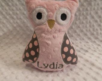 Pink and Gray Polkadot Owl/owl/stuffed owl/stuffed toy/personalized toy/personalized owl toy/personalized baby toy/baby toy/newborn toy