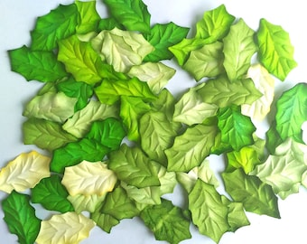 50 X  Mulbery Paper Christmas Leaves  Green Color Size 1.5 inch (40 mm) Scrapbooking Embellishment