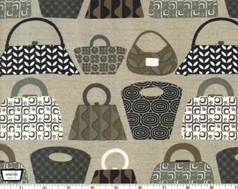 Purses Galore - Tan Graphite - Cotton Print Fabric from Michael Miller