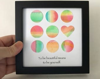 Motivational Watercolor Art - Framed Square Art - Watercolor Collage - Original Art   Watercolor Hearts - 5x5 inch Frame - Be Yourself
