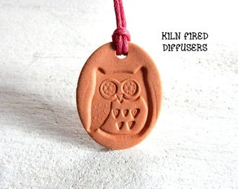 Kids Children Essential Oil Diffuser Owl Necklace Aromatherapy Boy Girl Terracotta Clay Jewelry Discounts Available Personalized