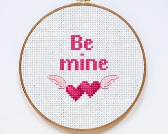 Be Mine Cross Stitch Pattern, Valentine's Day Fast Cross Stitch Chart, Cross Stitch Gift, Small, Easy, PDF Format, Instant Download