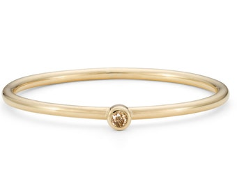 9ct Yellow Gold & Champagne Diamond, Ethical Skinny Stacking Ring