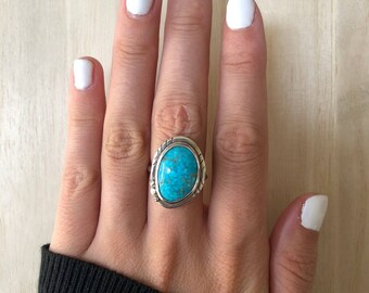 Sterling Silver Turquoise Ring. Size 7
