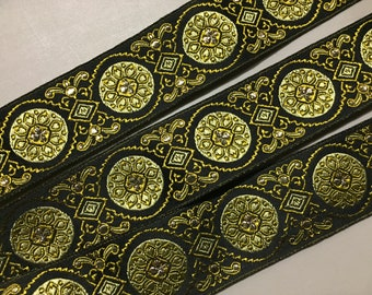 Vintage Jacquard Ribbon, Greens and Metallic Gold on Black, made in France, 1 1/2 inch wide, Price per Yard