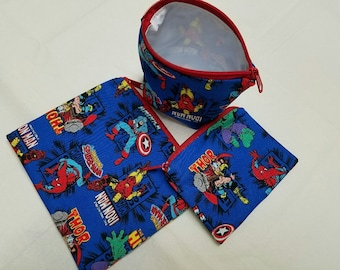 Reusable Sandwich Bags, Super Hero Snack Bags, Spiderman Snack Bags, Captain America Snack Bag, Small Toy Bags, Nylon Lining,Zipper Closure.