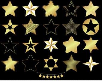 Gold Stars Clipart Foil Stars Clip Art Star Silhouette Clipart Digital Stars Scrapbooking Star Bunting Sheriff Star Icons Invitations Logo