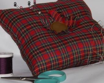 Large Square Pincushion, Red Tartan Pincushion, Dressmakers Pincushion